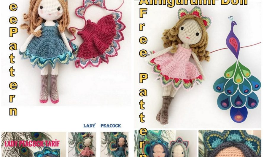 Amigurumi Lady Peacock Free English Crochet Pattern